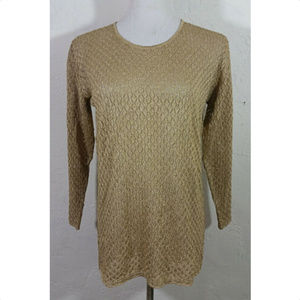 Cache Small Top Gold Sheer Long Sleeve Metallic